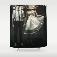 abstract Shower Curtains featuring abyss of the disheartened : IV by Heather Landis