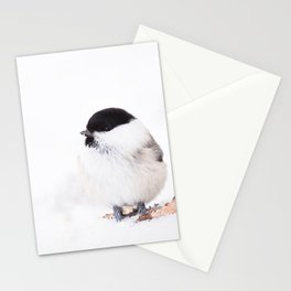 Cute Willow Tit sitting in the snow #decor #buyart #society6 Stationery Cards