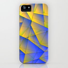 Bright fragments of crystals on irregularly shaped yellow and blue triangles. iPhone Case