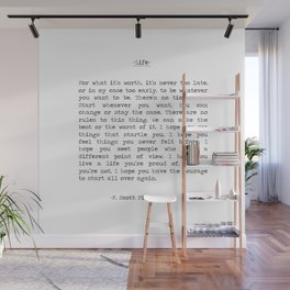 Life quote F. Scott Fitzgerald Wall Mural