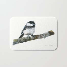 Black-capped Chickadee by Teresa Thompson Bath Mat
