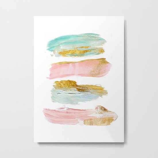 Pastel and gold strokes Metal Print