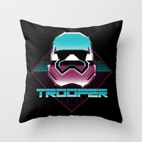 trooper Throw Pillows featuring TROOPER by MEKAZOO