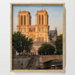 Notre Dame de Paris at Golden Hour - Paris, France Serving Tray