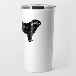 I Rescued My Best Friend Pug Dog Silhouette design Grunge Travel Mug