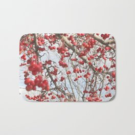 Choking Cherry Tree Photograph Red Berries with Blue Sky Bath Mat