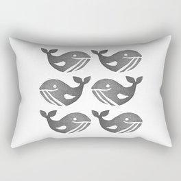 Cute Happy Whales | Block Printing Design Rectangular Pillow