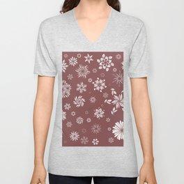 White and Brown Flowers  Unisex V-Neck