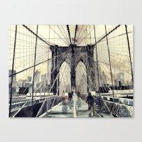 brooklyn bridge Canvas Prints featuring Brooklyn Bridge by takmaj
