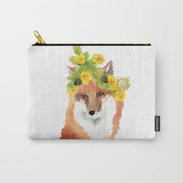 fox with flower crown Carry-All Pouch