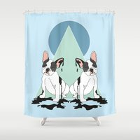 pugs Shower Curtains featuring Pugs (Blue) by Anna McKay