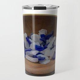 Cobalt and White Sea Glass Travel Mug