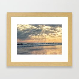 Rays From Above sun rays on Cayucos Beach Framed Art Print