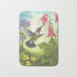 Hummingbird and Columbine Bath Mat