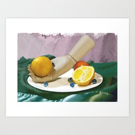 Wooden Hand and Fruit Art Print