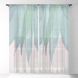 Delicate Agave Fringe Illustration Sheer Curtain