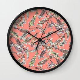 lucky koi coral Wall Clock