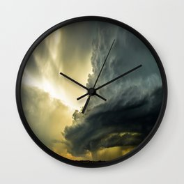 Supercell - Massive Storm Over the Great Plains Wall Clock