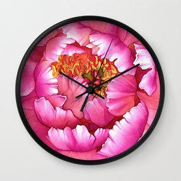 Coral Charm Peony Watercolour Wall Clock