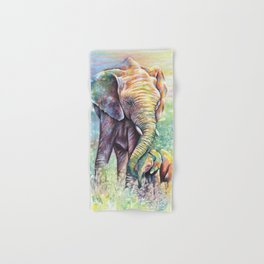 Colorful Mother Elephant and Baby Hand & Bath Towel