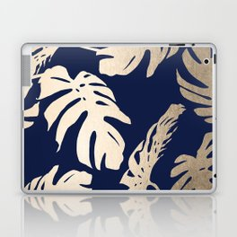 Simply Palm Leaves in White Gold Sands on Nautical Navy Laptop & iPad Skin
