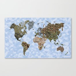 CAMO WORLD ATLAS MAP (blue) Canvas Print