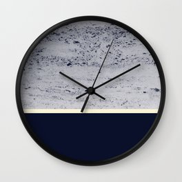 Navy Blue Pale Yellow on Navy Blue Concrete #1 #decor #art #society6 Wall Clock