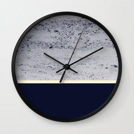 Navy Blue Pale Yellow on Navy Blue Concrete #1 #decor #art #society6 Wall Clock