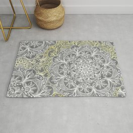 Yellow & White Mandalas on Grey Rug