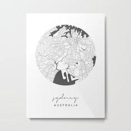 Sydney Australia Circle Street Map Metal Print