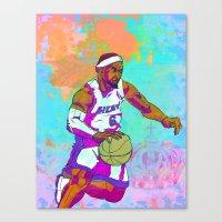 lebron Canvas Prints featuring LeBron James by Maddison Bond
