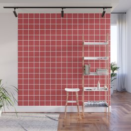 English vermillion - pink color -  White Lines Grid Pattern Wall Mural