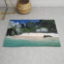 Seychelles Islands' Beach and Emerald Green Indian Ocean Rug