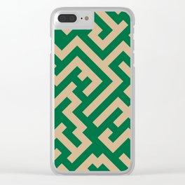 Tan Brown and Cadmium Green Diagonal Labyrinth Clear iPhone Case