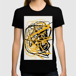 Zen abstract art in yellow and black T-shirt