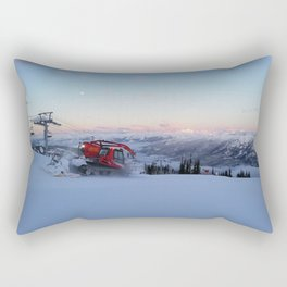 Morning animal of ski resort: Snowcat at work Rectangular Pillow