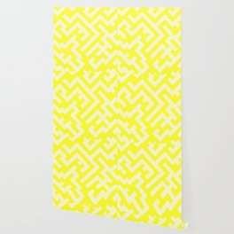 Cream Yellow and Electric Yellow Diagonal Labyrinth Wallpaper