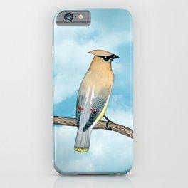 cedar waxwing and blue sky iPhone Case