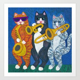 Salsa Cats Brass Section Art Print
