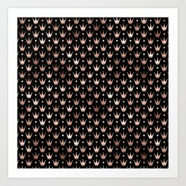 Black & Rose Gold Crown Pattern Art Print