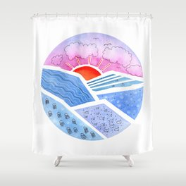 Abstract Seascape with Sunrise Shower Curtain