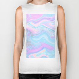 Sea Marble Candy Pattern - Violet, Aqua and Blue Biker Tank