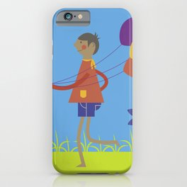 A boy with his balloons. iPhone Case