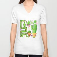 green pattern V-neck T-shirts featuring Green by Grace Sandford