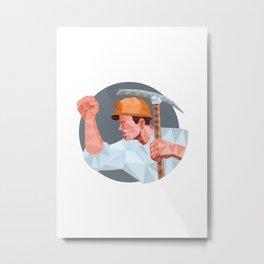 Coal Miner Pick Axe Fist Low Polygon Metal Print