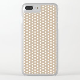 White dots in light brown background Clear iPhone Case
