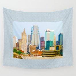 Downtown Kansas City Skyline Tilt Shift Photograph Wall Tapestry