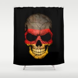 Dark Skull with Flag of Germany Shower Curtain