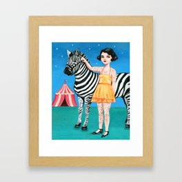 Tattooed circus girl with zebra. Framed Art Print