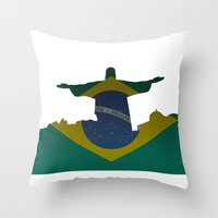 brazil Throw Pillows featuring Brazil by Jimbob1979